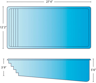Caribbean pool dimensions