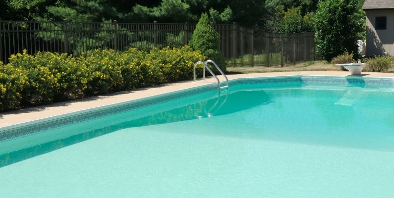image of cement inground pool in a backyard with landscaping